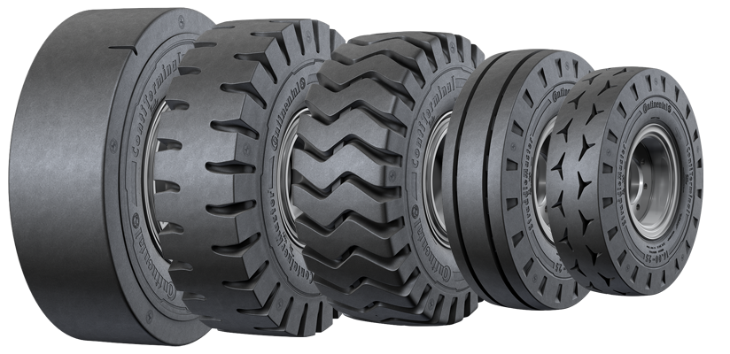 press-on solid rubber forklift tires