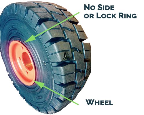 Solid SIT tire without lock rings
