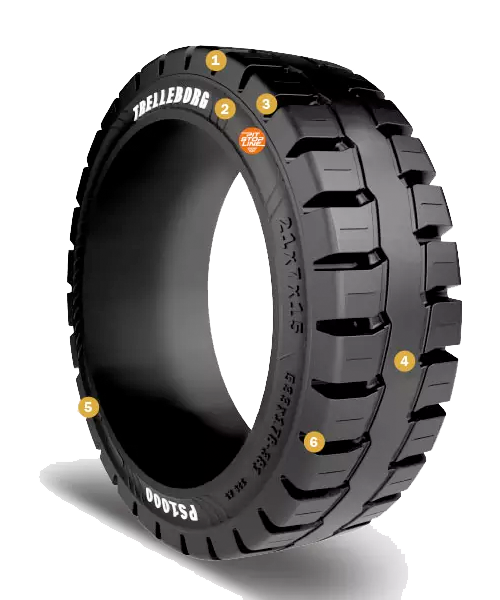 16-1/4x7x11-1/4 Forklift Tires 16-1/4x7x11-1/4 Traction Black Trelleborg PS1000 Multi-Purpose Press-On Tire