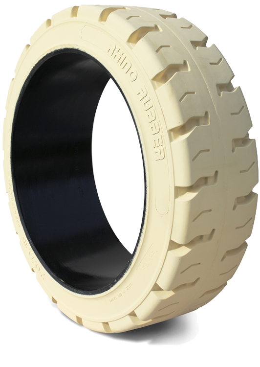 16x5x10-1/2 Forklift Tires 16x5x10-1/2 Traction Non Marking Rhino R1 Solid Press-on Forklift Tire