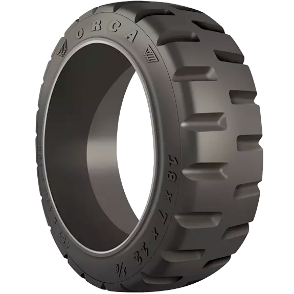 18x6x12-1/8 Forklift Tires 18x6x12-1/8 Traction Trelleborg Orca  Solid Forklift Tire Press-On